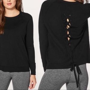 Lululemon Tied To You Sweater Lace Up Back Black 6